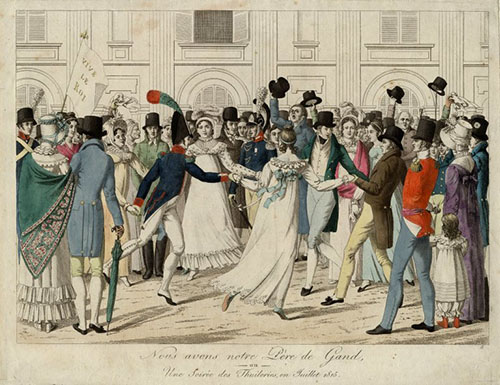 Group of early 19th century men and women dancing in a circle