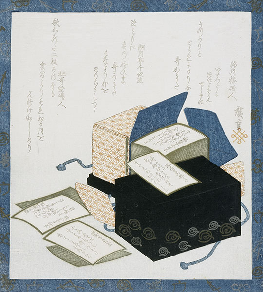 Print depicting box of Japanese poetry