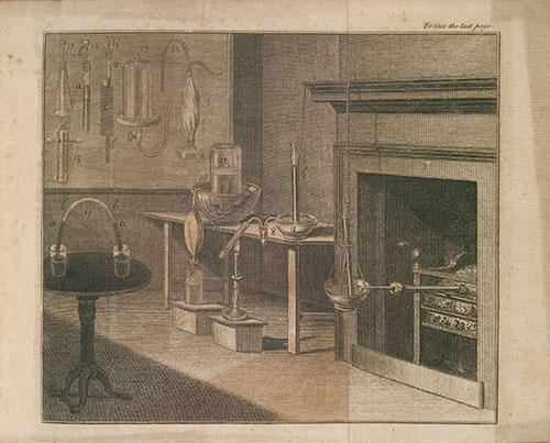 Engraving showing old scientific equipment in a laboratory