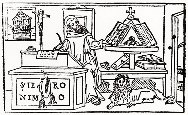 Scholar with books and lion
