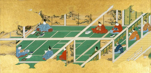 Japanese men reading intside a room, seen from above