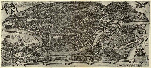 Engraving of 17th century map of Rome