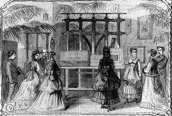 Fashionable 19th century women and men in an artist's studio