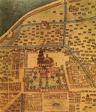 Hand drawn map of colonial Mexico city