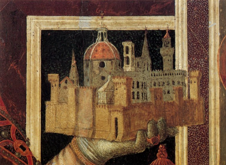 Painting of a cathedral model held in a person's hand