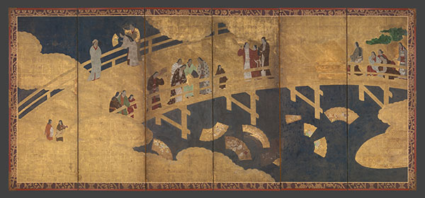 Screen showing Japanese women on a gold bridge throwing fans into a river