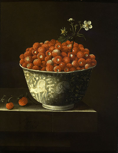Still life of a bowl of strawberries.
