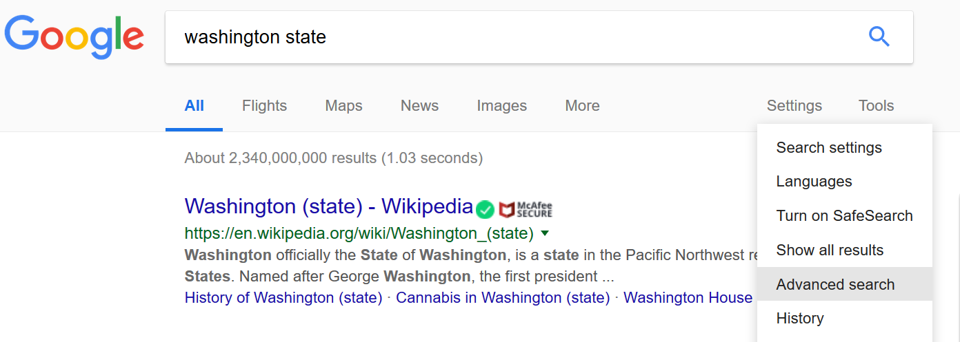 Screenshot showing Google advanced search