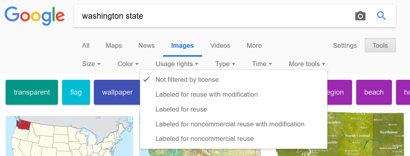 Screenshot shows advanced search options in Google Images
