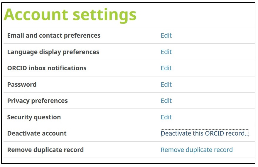 Screenshot showing account settings in ORCID