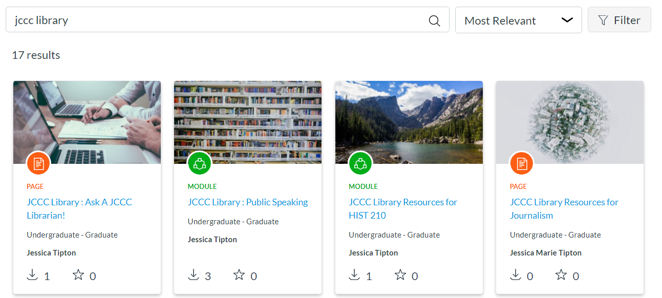 Canvas Commons Library Resources Search