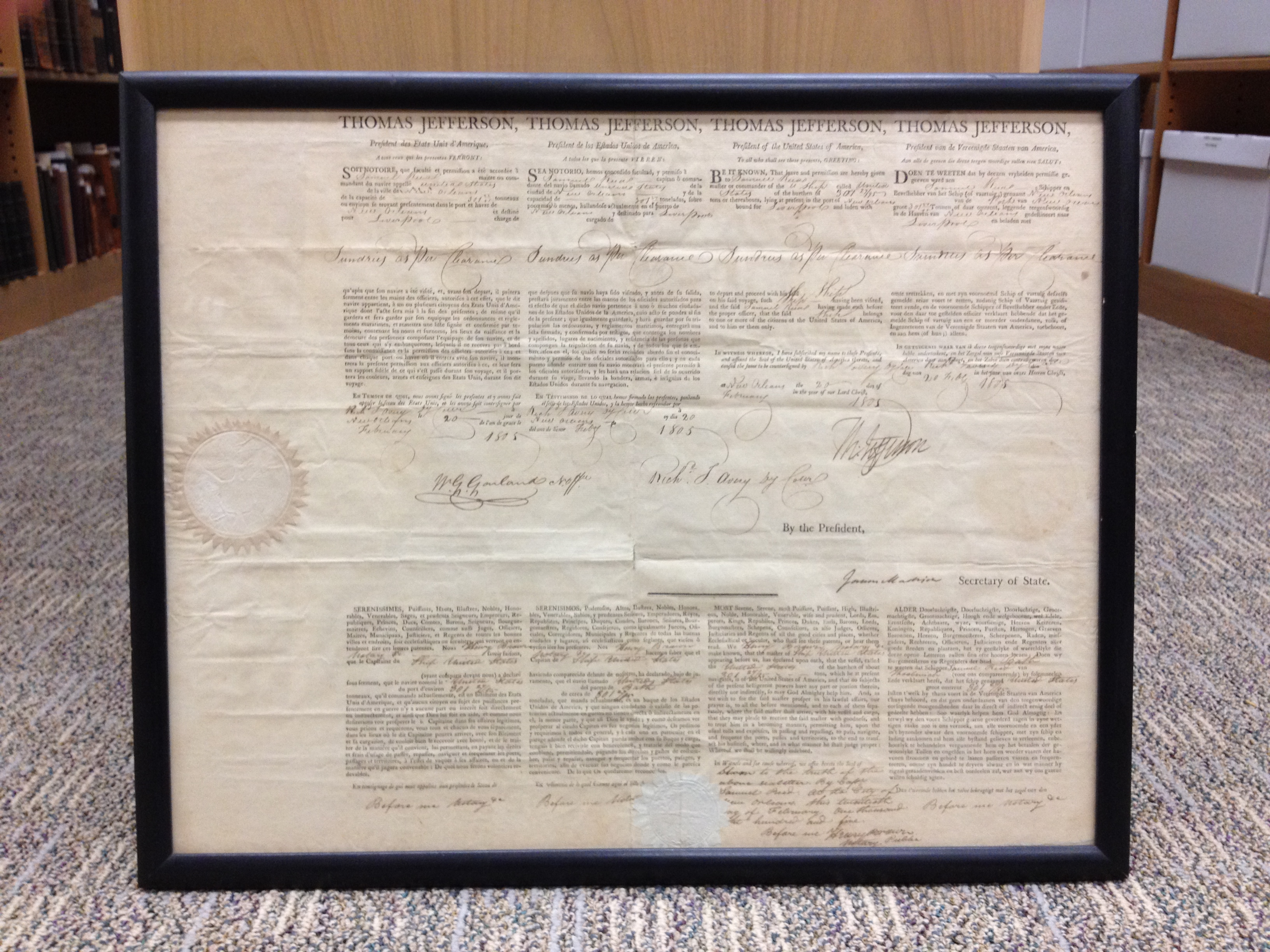 Ships document. USS United States. 1805. Signed by Thomas Jefferson and James Madison.