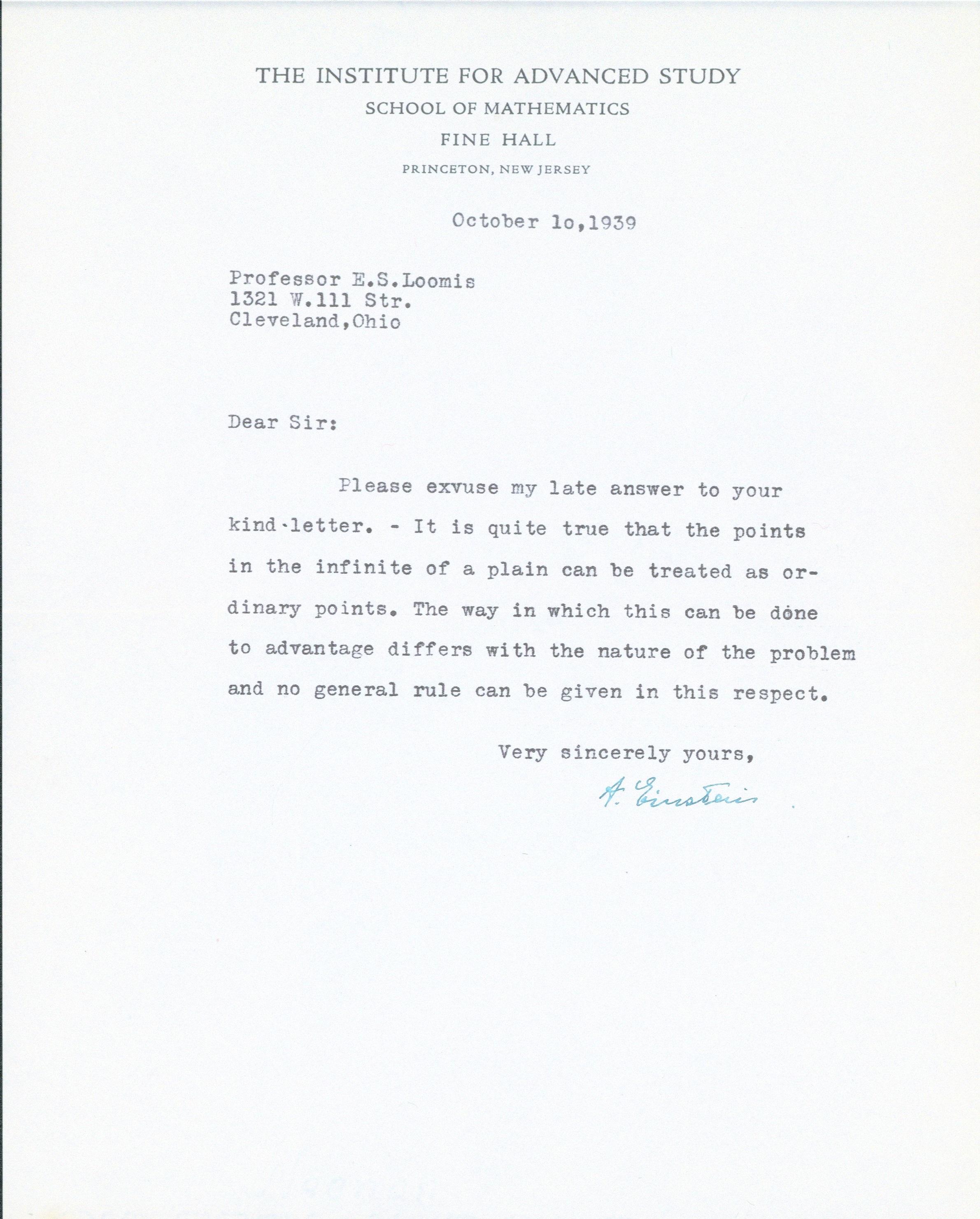 Albert Einstein. letter, 1939. Signed.