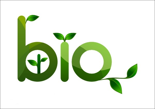 The word BIO with green leaves