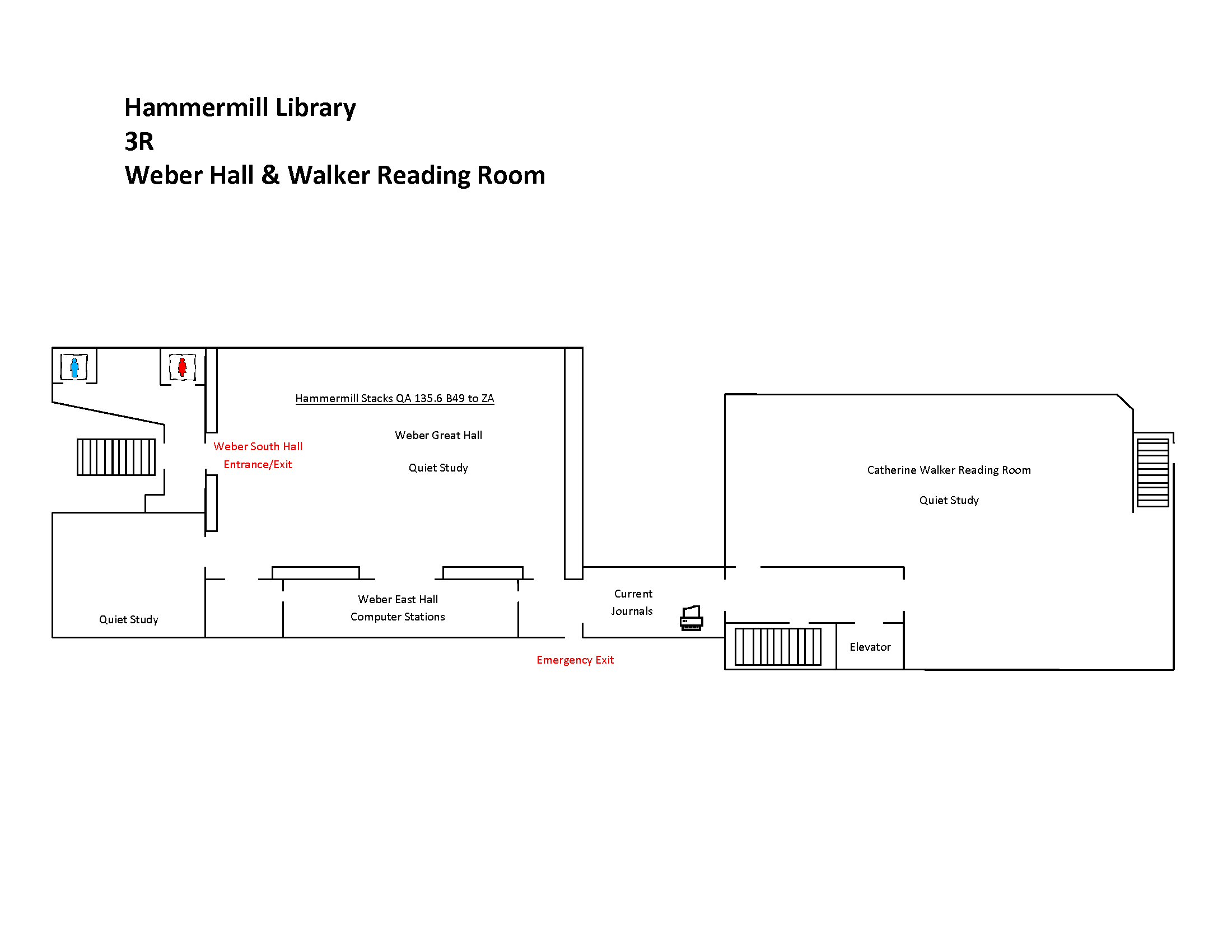 3R weber hall & Walker Reading Room Map