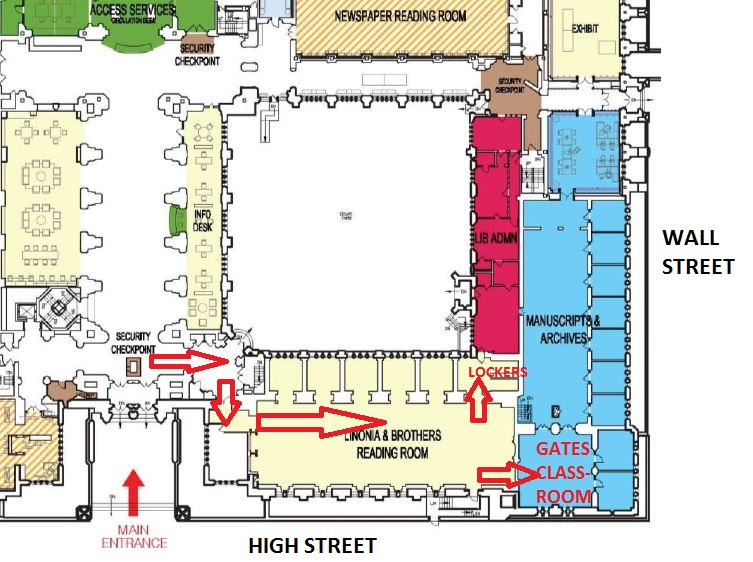 Map indicating access to Gates classroom
