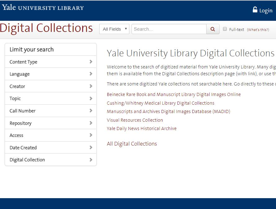screenshot of digital collections home page