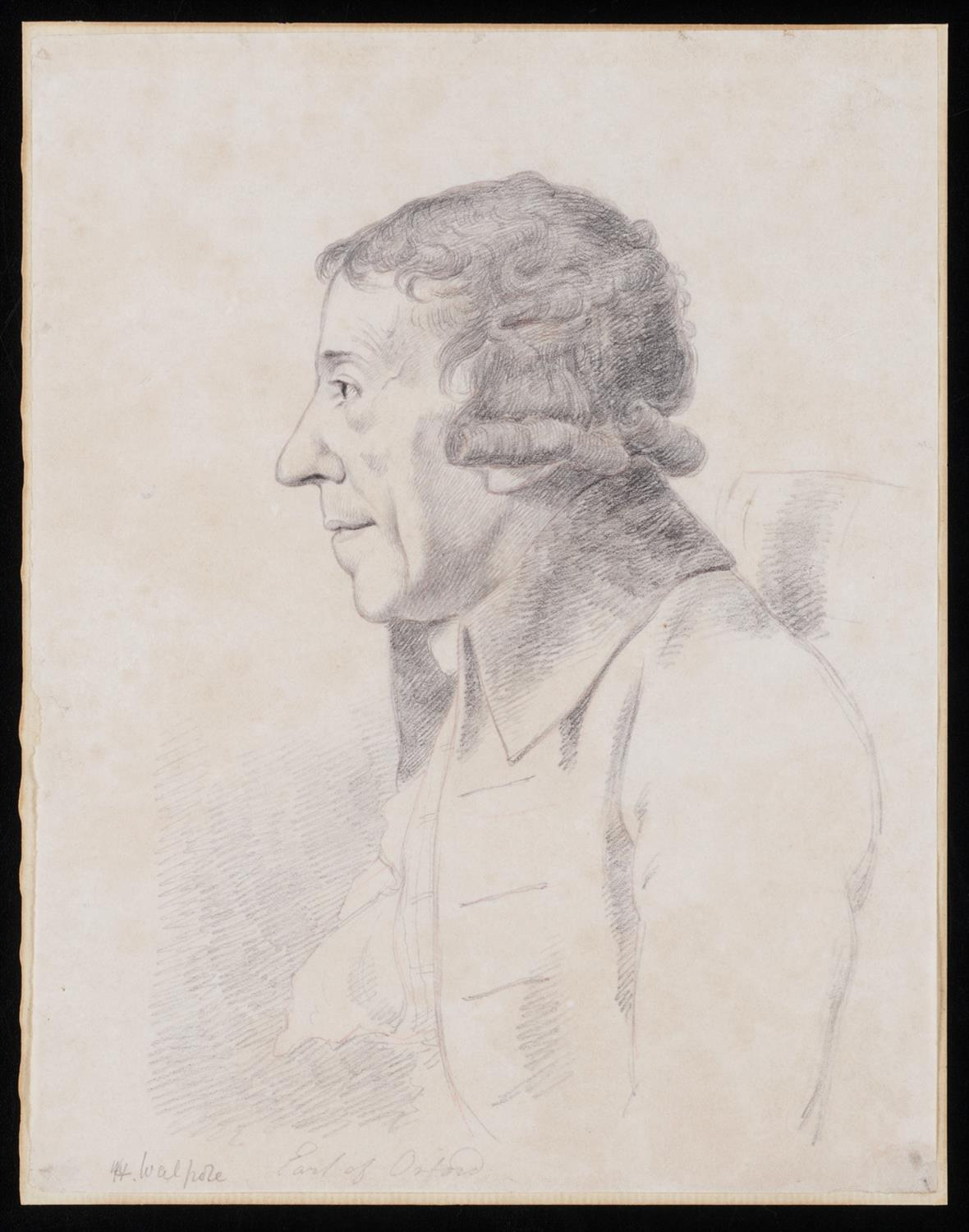 Pencil drawing of Horace Walpole, Earl of Orford, in profile looking left, half-length view, seated in a chair.