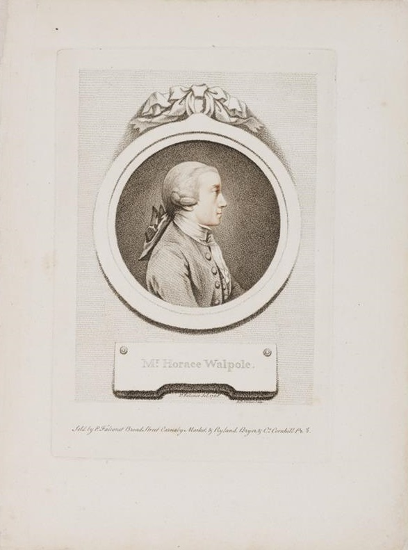 Portrait of Horace Walpole, 1st Earl of Orford, bust-length in profile to right, wearing wig, open coat, waistcoat, neckerchief and frill; in round frame in form of a miniature, with ribbon through ring at the top, and tablet below; after Falconet