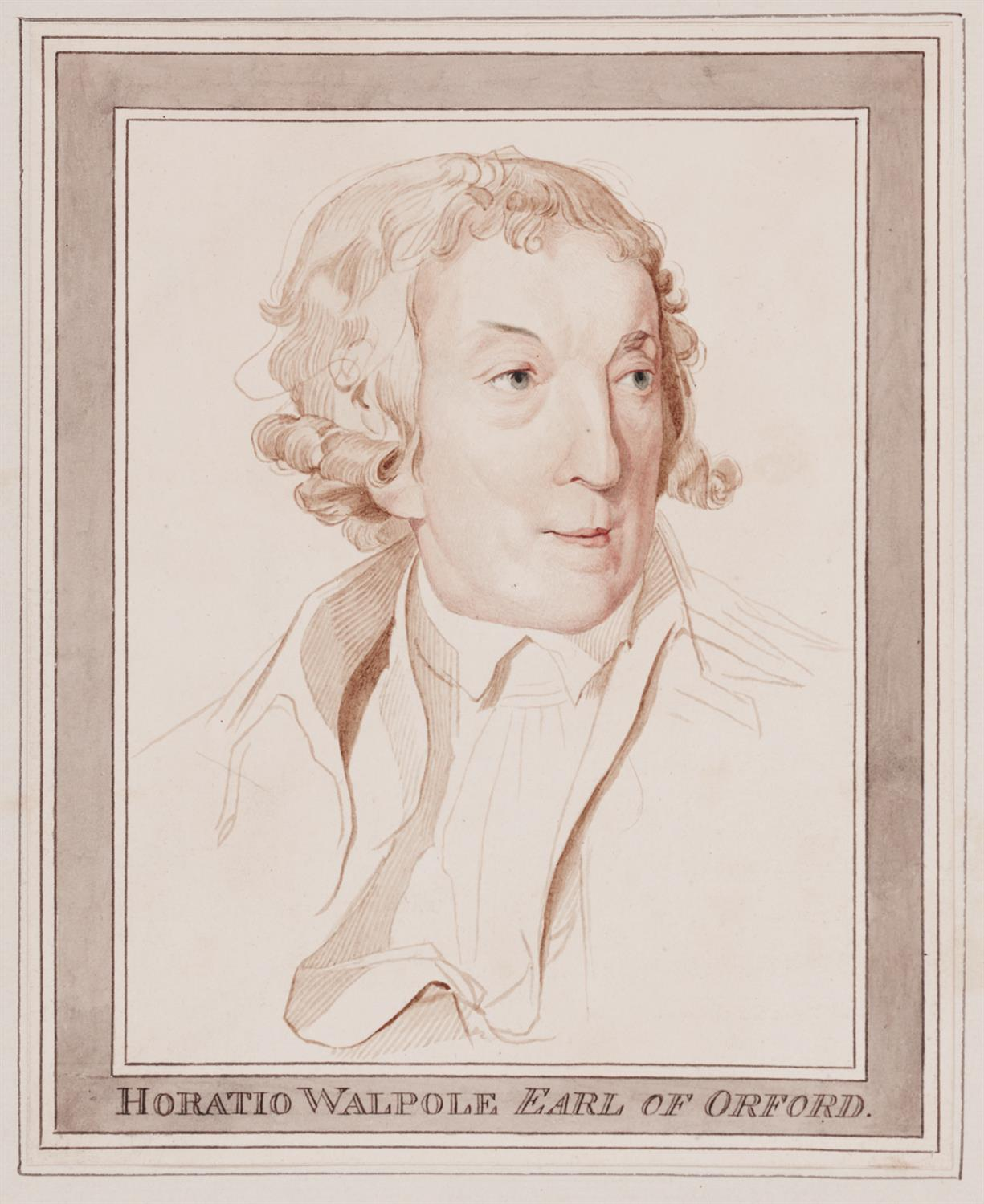 Bust-length portrait of Horace Walpole, head turned in three-quarter profile to look right, wearing a short wig curled at the sides; with border