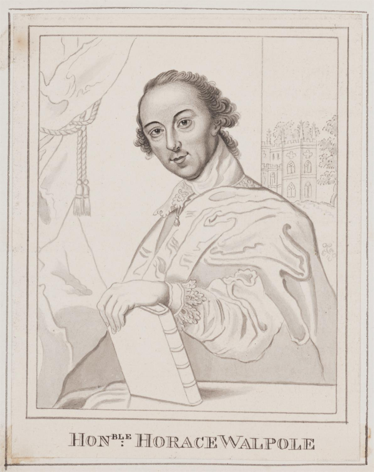 Half-length portrait of Horace Walpole; his left hand leaning on the Aedes Walpolinae; a view of Strawberry Hill behind him.