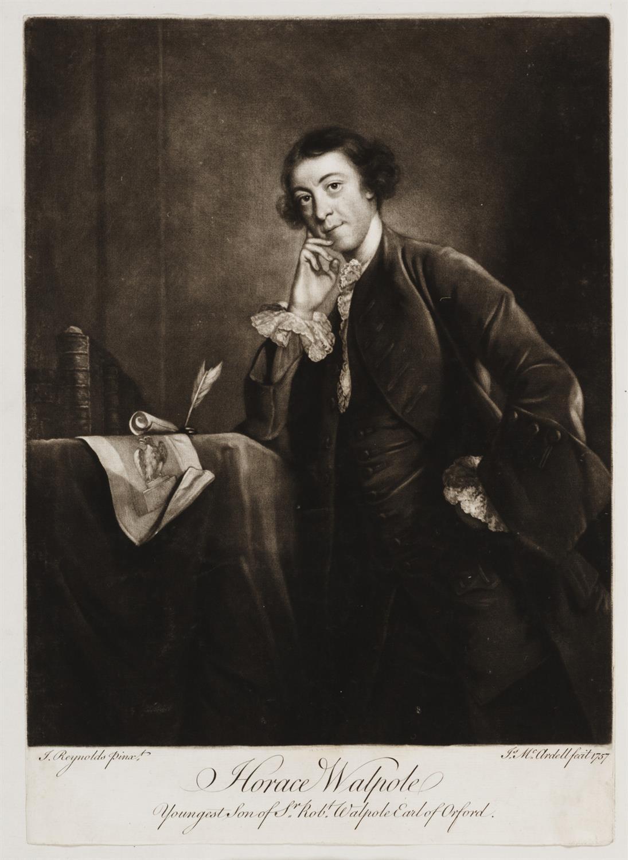3/4 length mezzotint portrait of Horace Walpole in dark coat, leaning one arm on a table