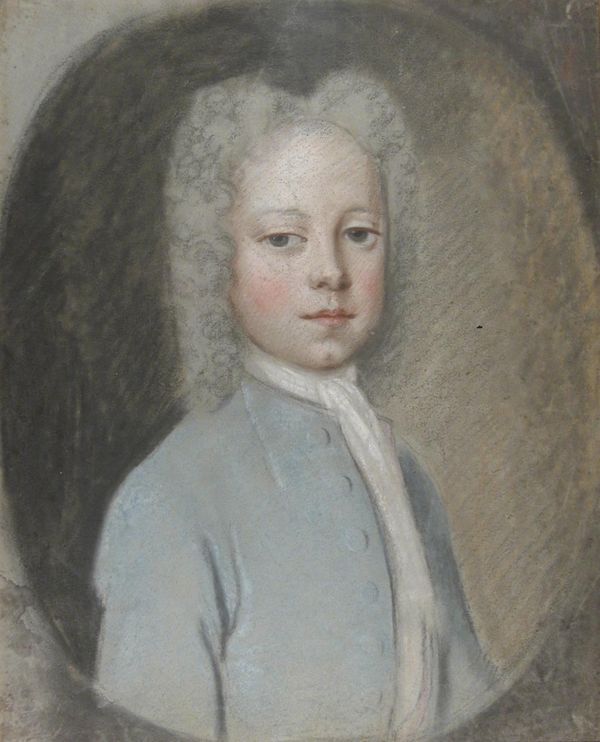 Portrait of Horace Walpole, age 10, shown half-length, in a long powdered wig, cravat, and blue velvet coat.