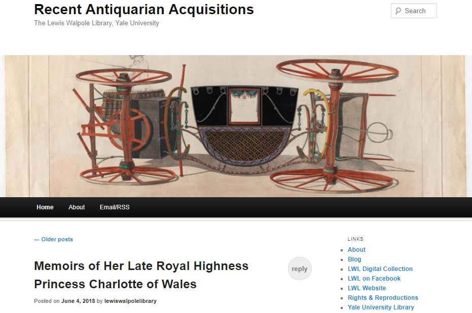 Screenshot of Recent Antiquarian Acquisitions blog home page