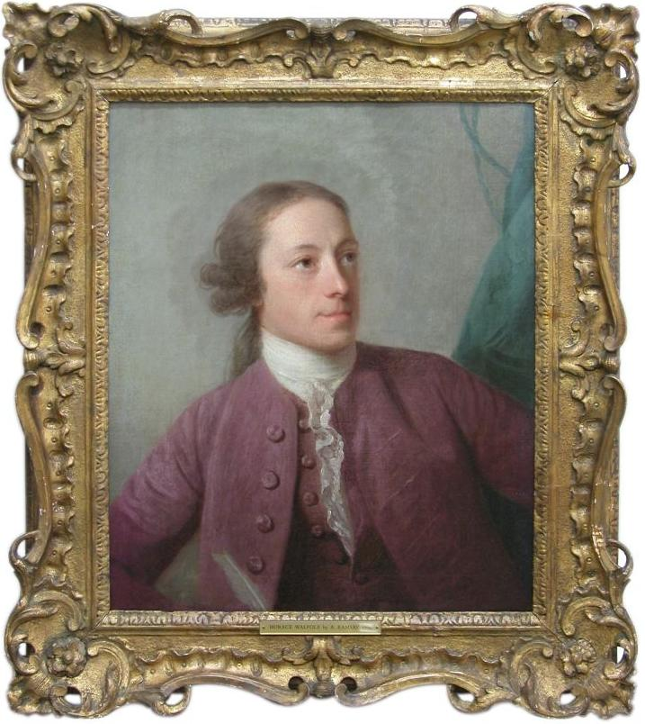 Color framed oil painting portrait of young man