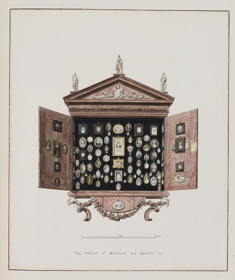 watercolor drawing of a wooden wall cabinet with doors open and miniature paintings hanging inside