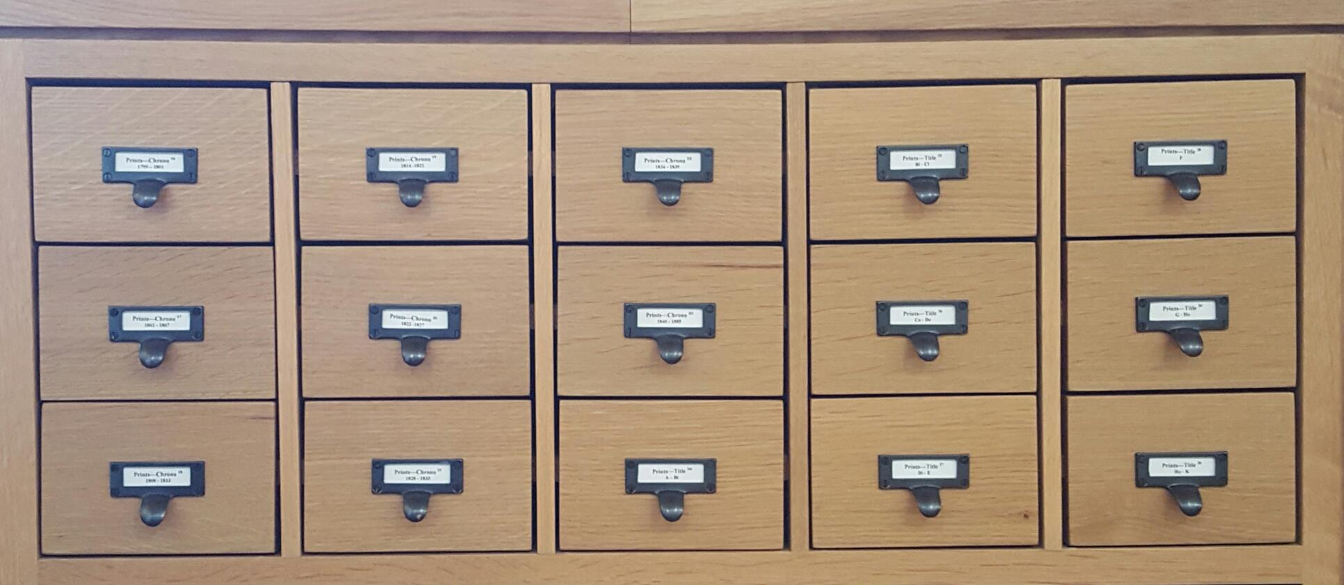 photo of the card catalog drawers at the LWL