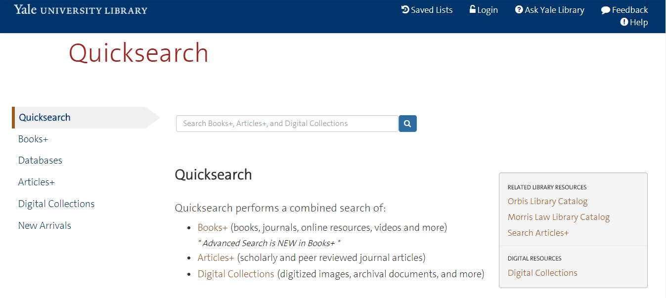 screenshot of Quicksearch landing page