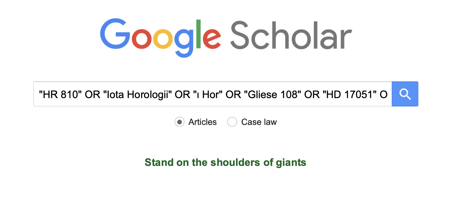 A Google Scholar page showing a search for Iota Horologii with some operators for variant names.