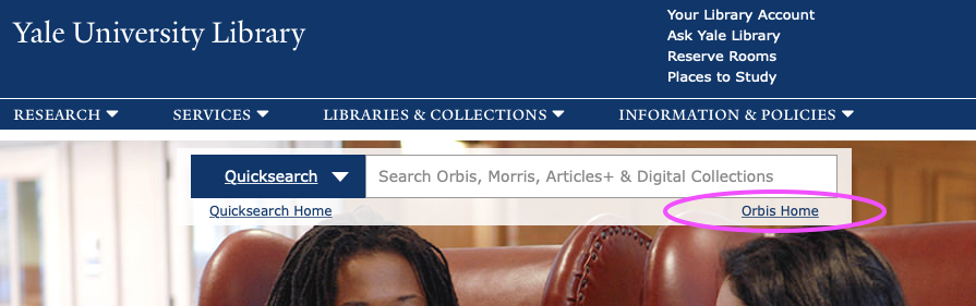 "The main Yale University web site with the link to ""Orbis Home"" circled."