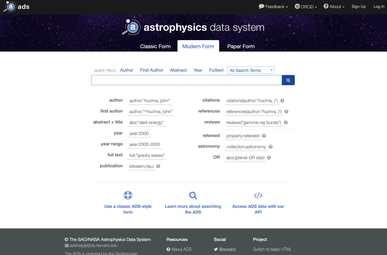The main ADS page.