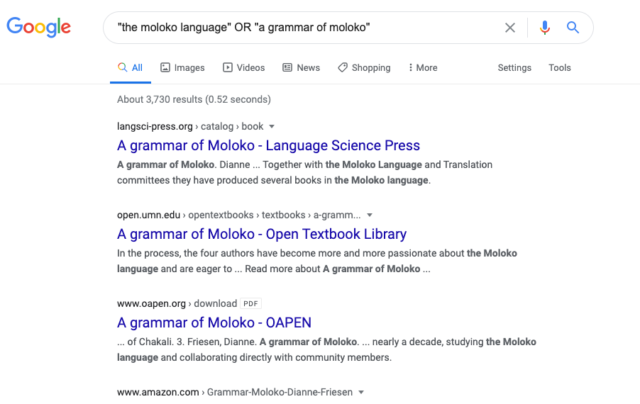 A search for Moloko grammars.