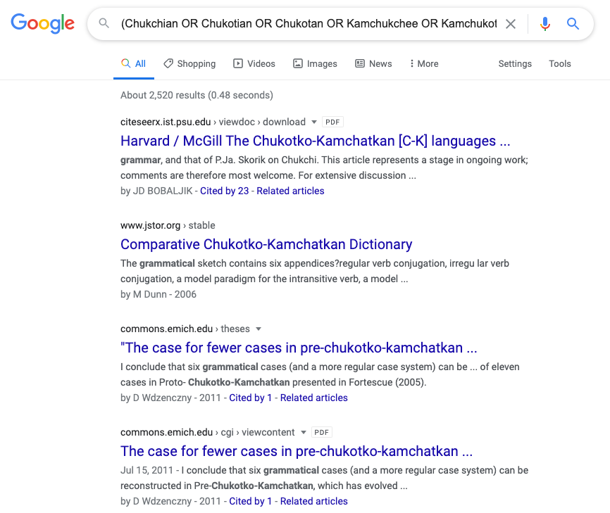 The search for Chukotko-Kamchatkan grammars with some things removed from the results.