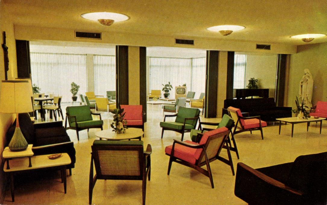 *Postcard - Student Lounge in Pacelli Hall   *1958
