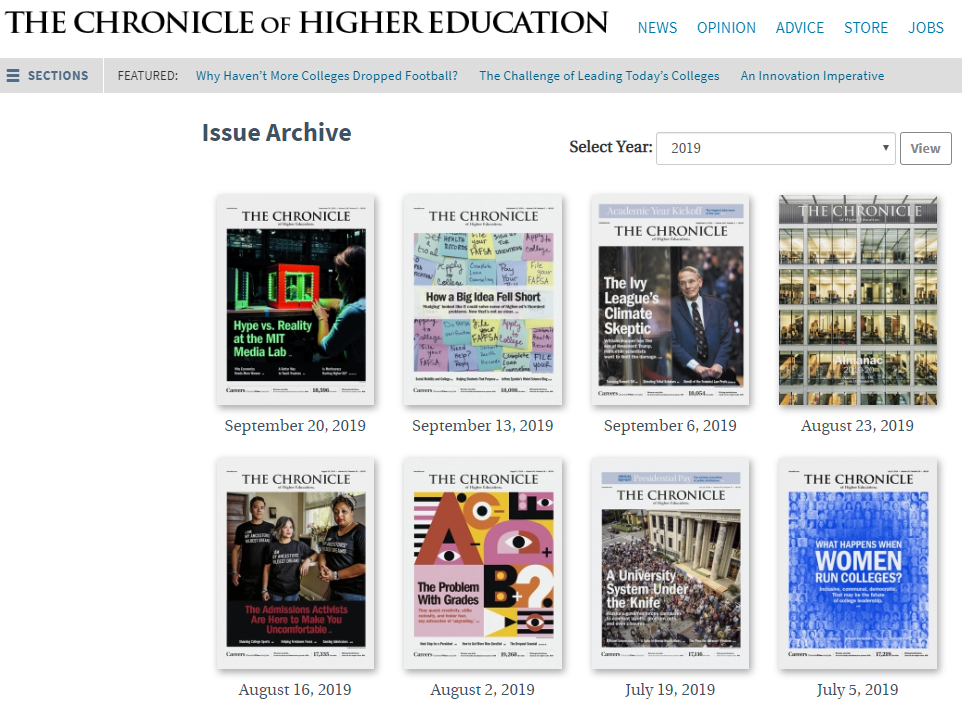 Chronicle of Higher Education online issue archive