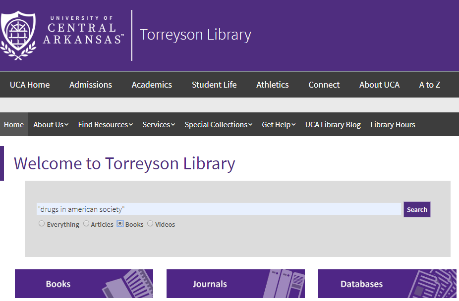 Screen capture of OneSearch database with textbook title in quotations and radio button for books selected.