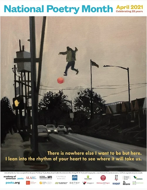 Painting of man floating in air over street