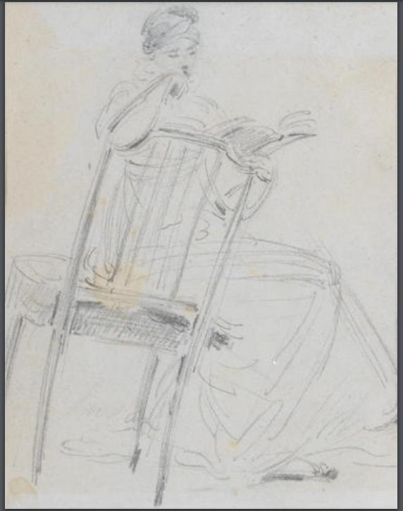 Sketch of Jane Austen reading