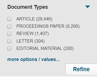 Limiting by Document Types in Web of Science