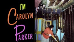 poster for documentary film I'm Carolyn Parker, depicts woman cleaning house gutted after Huricane Katrina