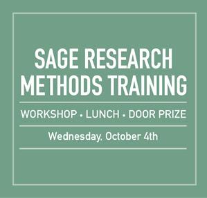 Sage Research Methods Workshops, October 4, Registration Required