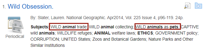 "Academic Search Premier record with ""wild animal trade"" and ""wild animals as pets"" in the subject field highlighted."