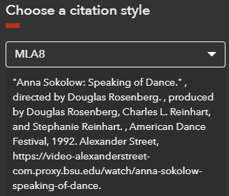 Example of an MLA citation for a video in Dance in Video