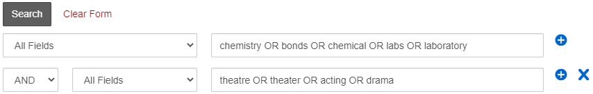 Advanced Search form with synonyms for theater in one box and synonyms and related terms for chemistry in the other box