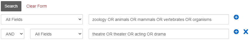 Advanced Search in OneSearch with synonyms for zoology in one box and synonyms for theater in the other box