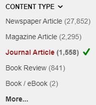 OneSearch Content Type limit window, with Journal Article checked